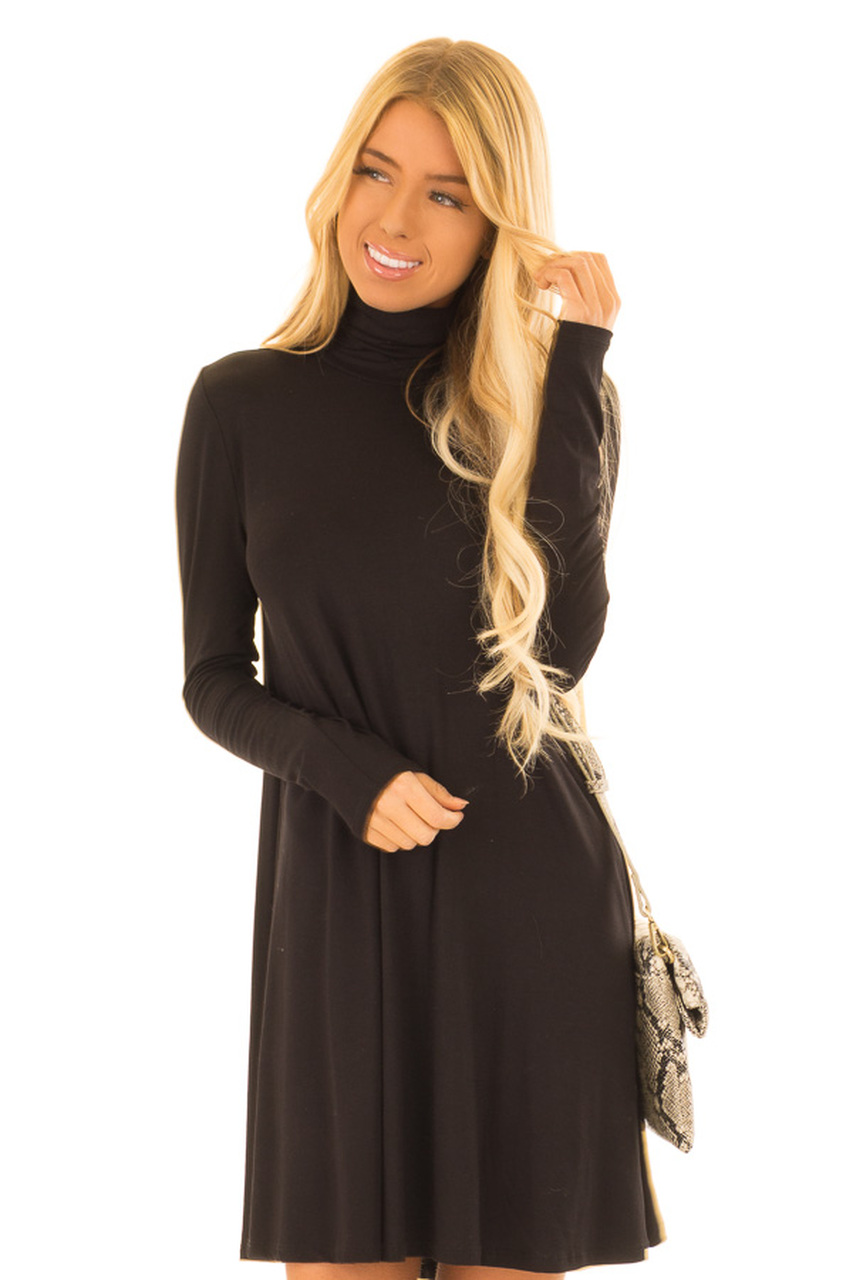 f94f6f742278 Midnight Black Long Sleeve Turtleneck Swing Dress - Lime Lush Boutique