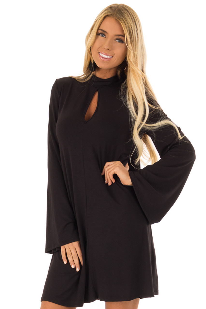 043c02214bd68d Black Long Bell Sleeve Mock Neck Dress with Keyhole Detail front close up