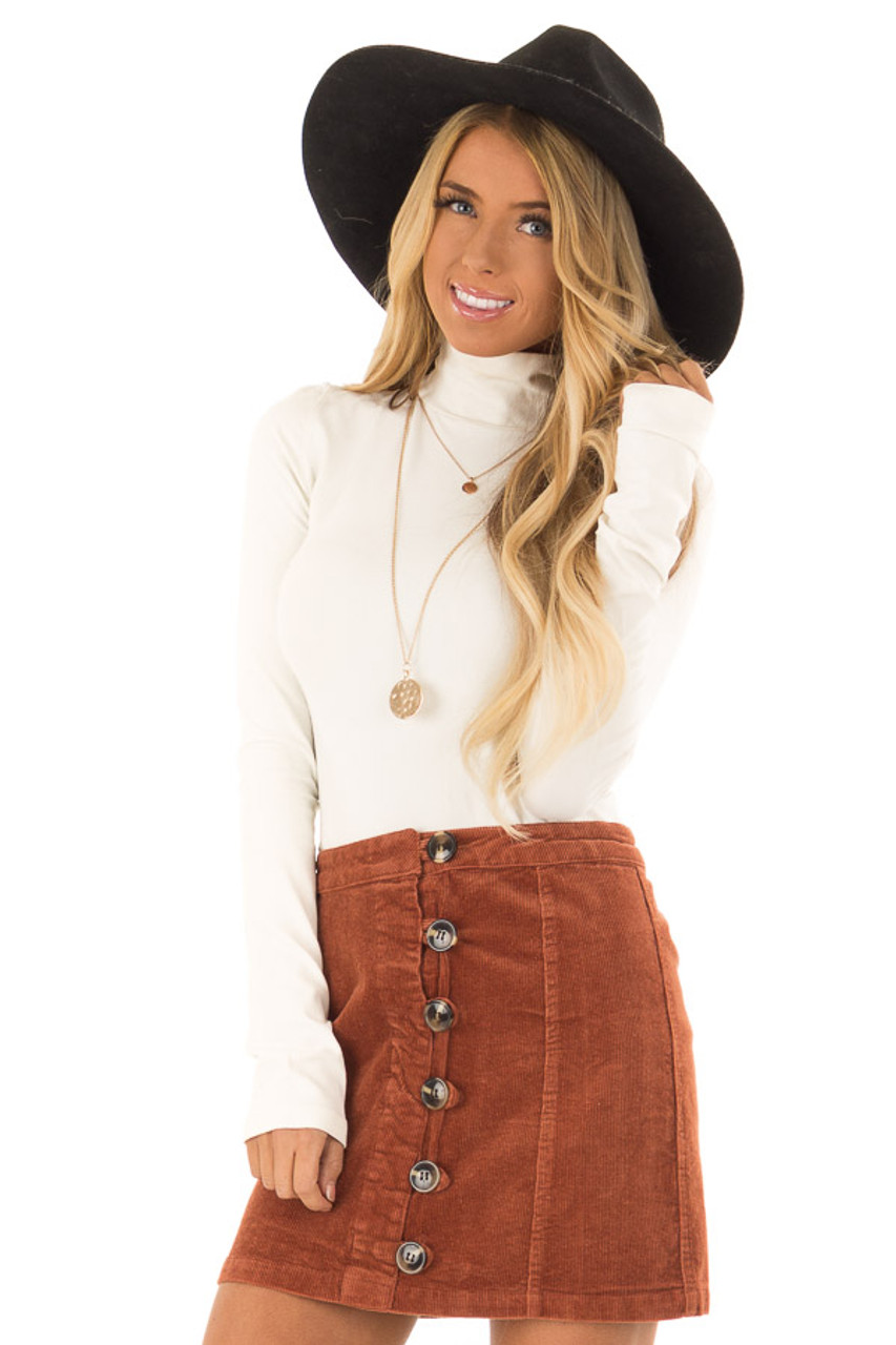 6b4320d8c Rust Corduroy Mini Skirt with Side Button Detail - Lime Lush Boutique