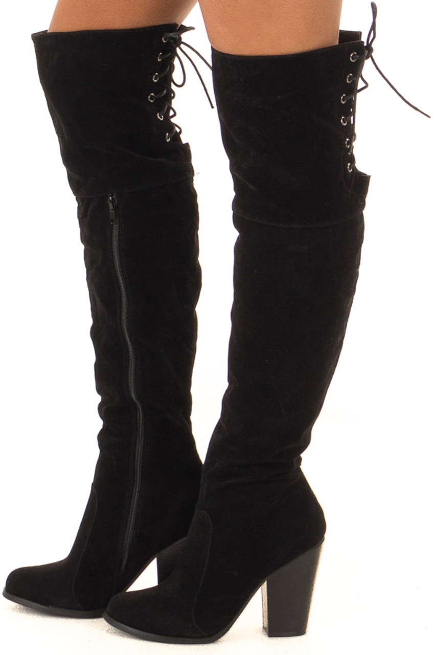 7ec1629cf226 Black Knee High Boots with Lace Back and Chunky Heel - Lime Lush ...