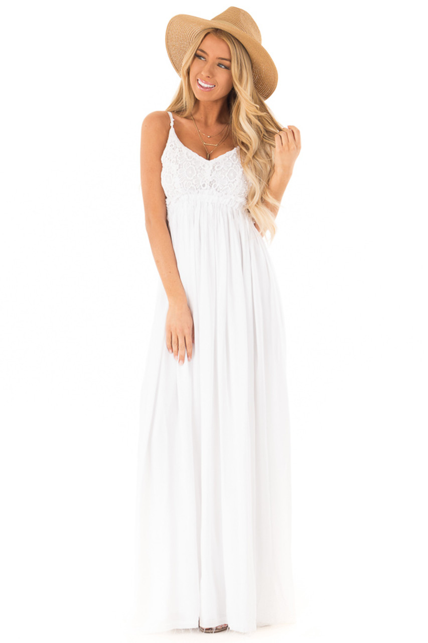 White Backless Maxi Dress With Crochet Bodice Detail