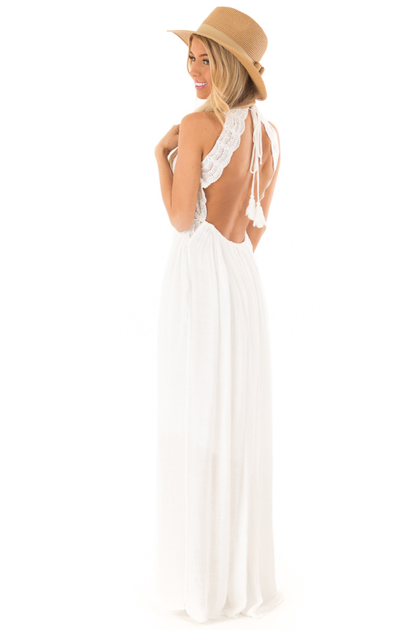 eddcb43a0 White Sleeveless Open Back Maxi Dress with Lace Accents back side full body