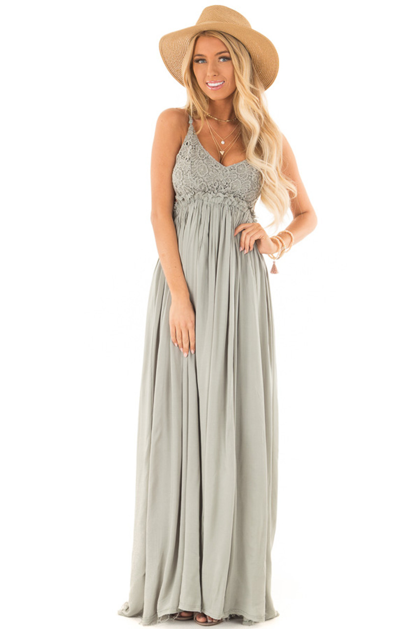 11e144664f Sage Green Backless Maxi Dress with Crochet Bodice Detail front close up