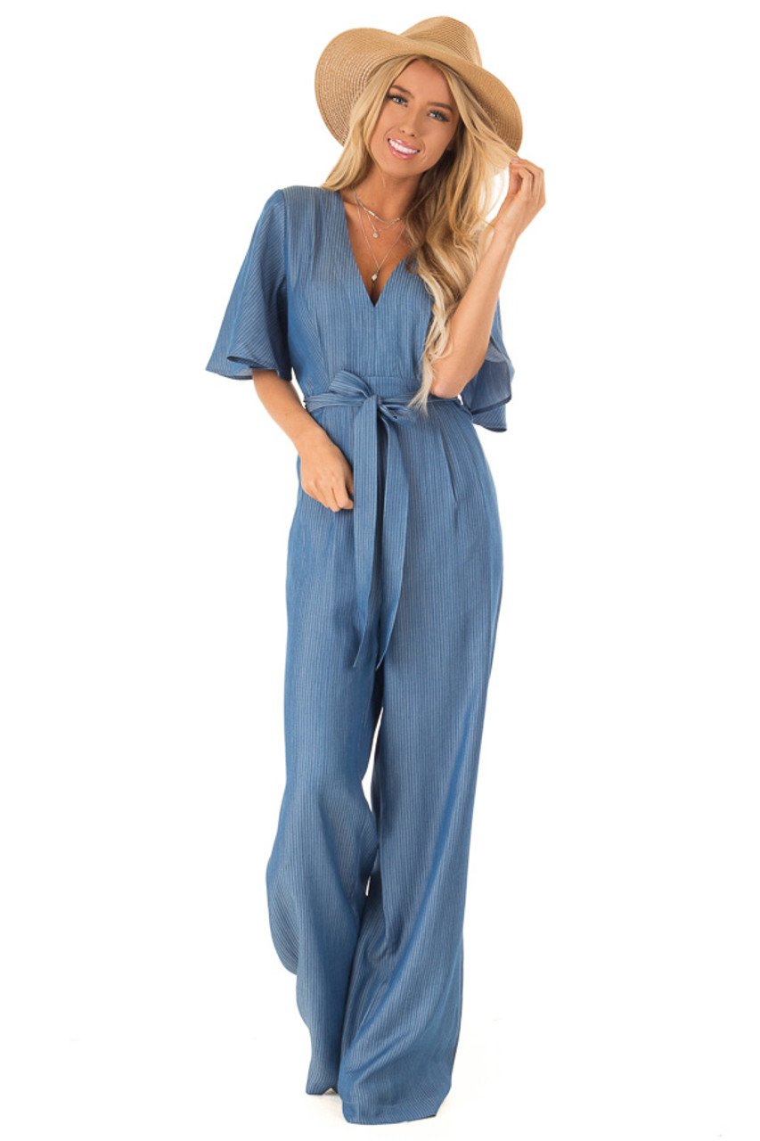 efd83a2093b Navy Pinstripe Jumpsuit with Back Keyhole Detail - Lime Lush Boutique