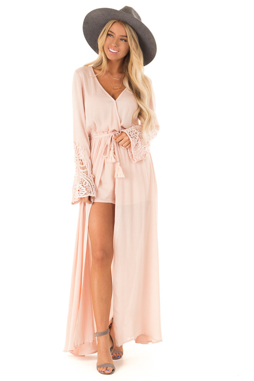 55440ea3b766 Blush Embroidered Long Sleeve Romper Dress with Maxi Overlay front full body