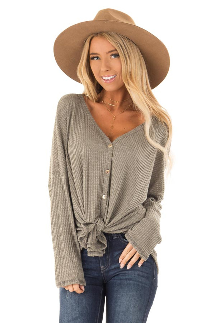 763b44dc8f65 Olive Waffle Knit Long Sleeve Button Up V Neck Top with Tie front close up