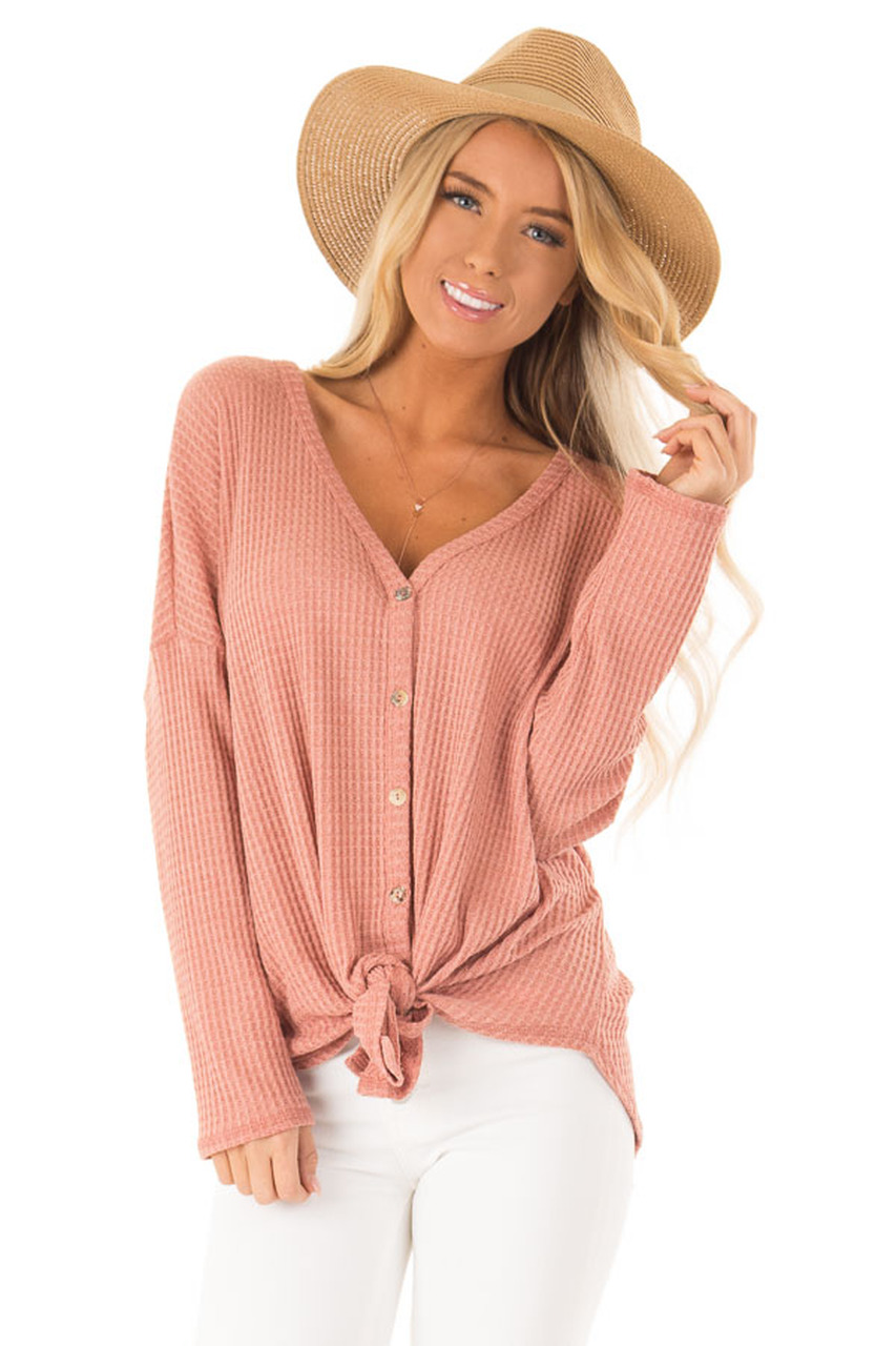 dfffe2f8f2c1 Salmon Waffle Knit Long Sleeve Button Up V Neck Top with Tie front close up