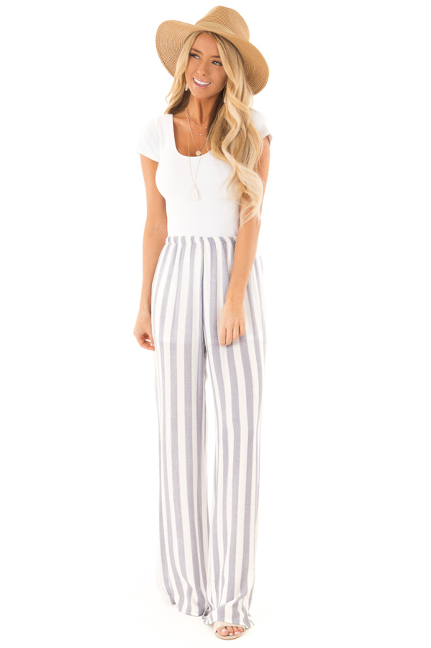 81246af1d6 Faded Navy and White Striped Palazzo Wide Leg Pants - Lime Lush Boutique