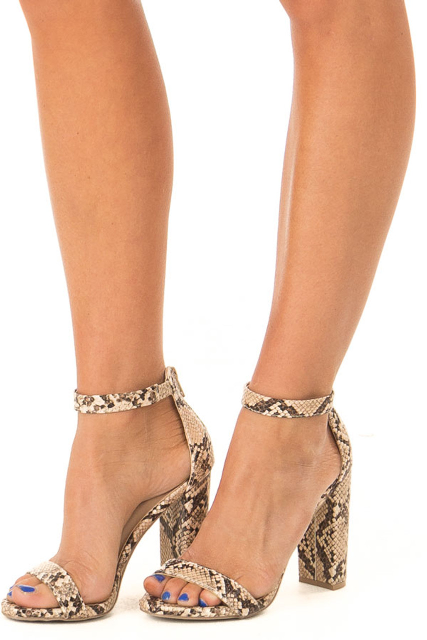 148323890f Beige and Mocha Snake Print High Heels with Ankle Strap - Lime Lush ...