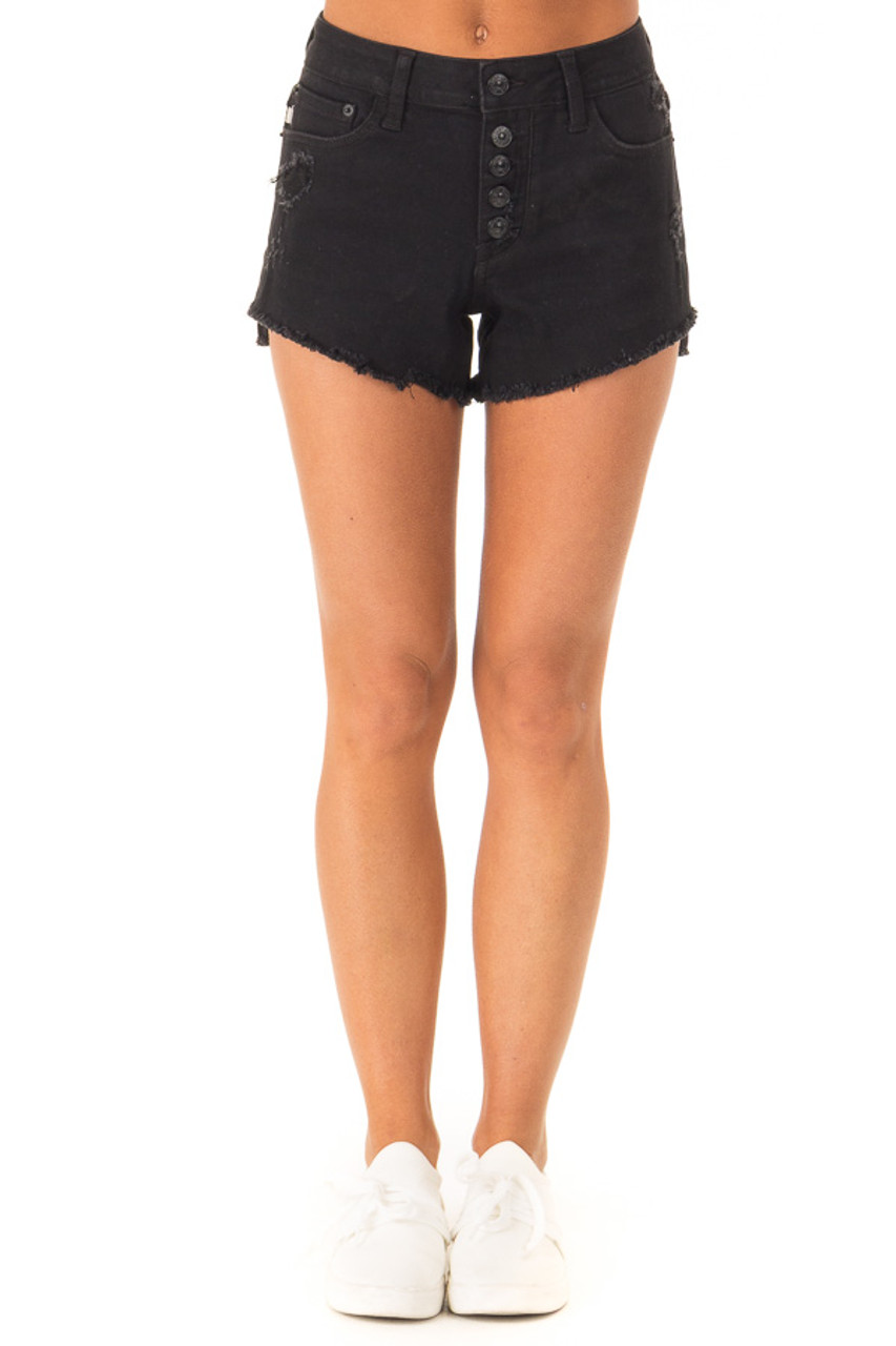 ce58fd6724b1 Black Distressed Button Up Denim Shorts with Pockets - Lime Lush ...