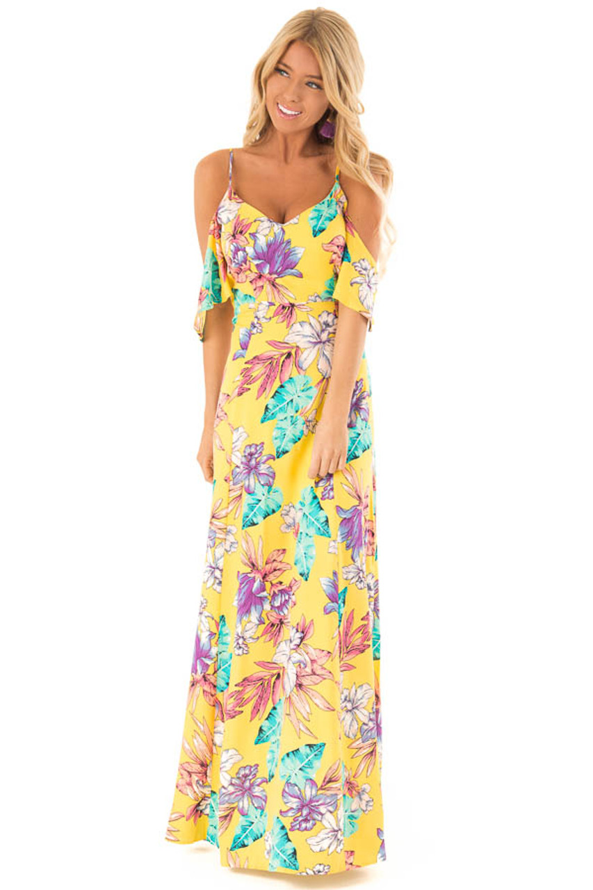 88b6407bd6d4 Pineapple Yellow Floral Print Cold Shoulder Maxi Dress front full body