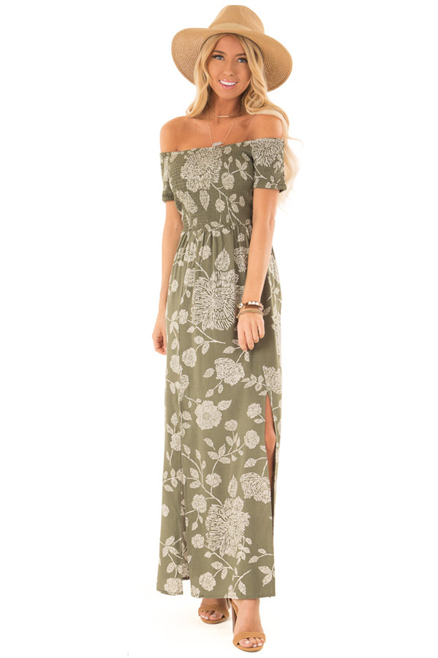 69f9ab5a3fd Olive and Cream Floral Off the Shoulder Smocked Maxi Dress front full body