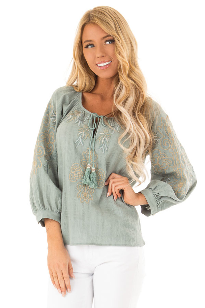 8b712850129d53 Dusty Teal Embroidered Floral Long Sleeve Peasant Top - Lime Lush ...