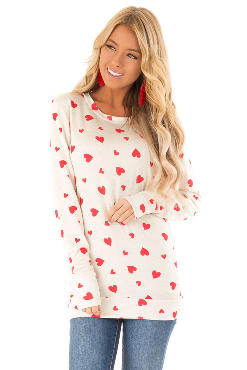 b4e8548916fb85 Oatmeal and Candy Apple Red Heart Print Long Sleeve Top - Lime Lush ...