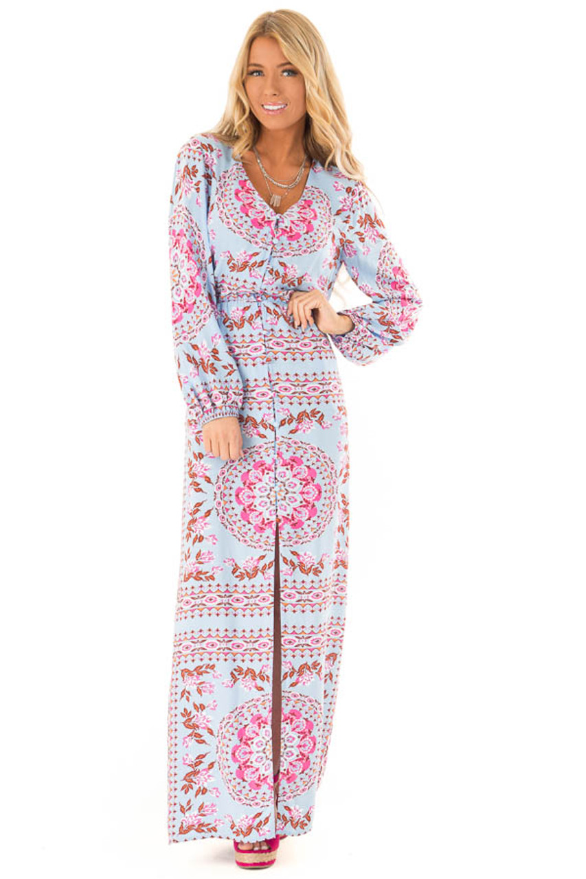 4f3289d12c2e8 Sky Blue Button Up Multi Print Maxi Dress with Long Sleeves