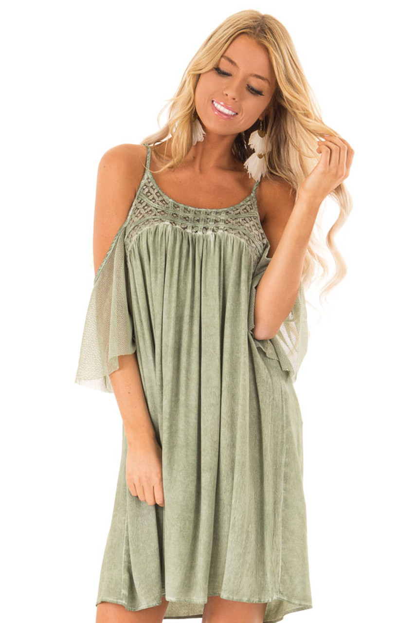 fc9a787218a2f1 Dusty Olive Mineral Washed Cold Shoulder Top with Lace - Lime Lush ...