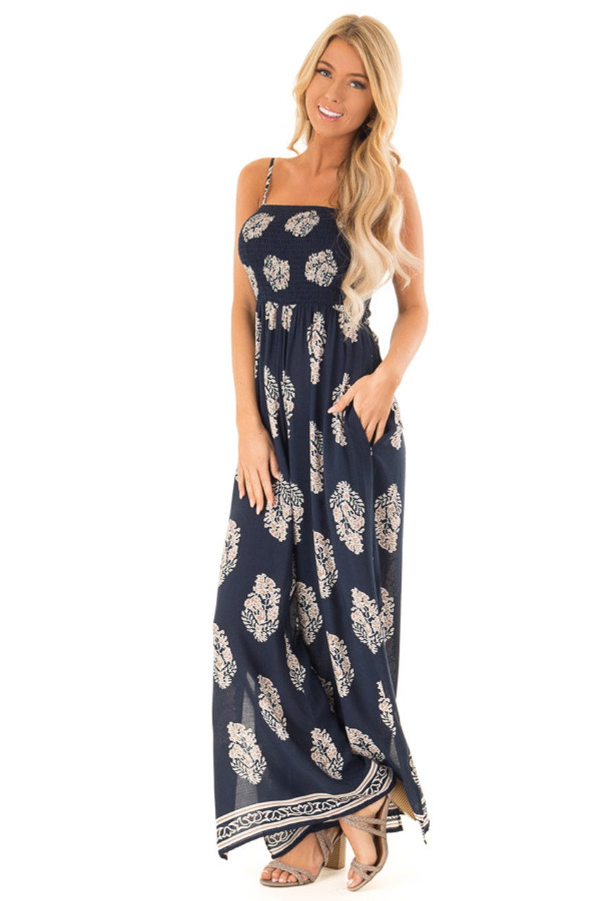 610017784894 Navy Sleeveless Wide Leg Jumpsuit with Side Pockets - Lime Lush Boutique