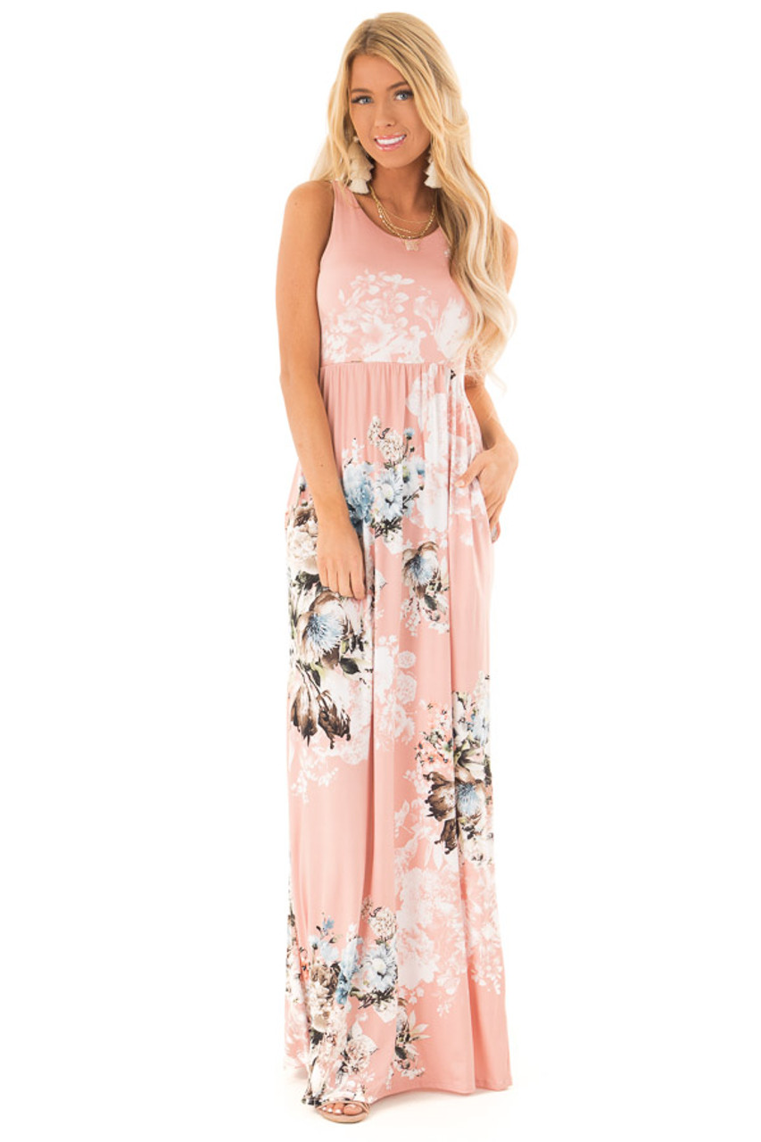 9e8bc8ee64c8 Dusty Rose Floral Racerback Maxi Dress with Side Pockets front full body