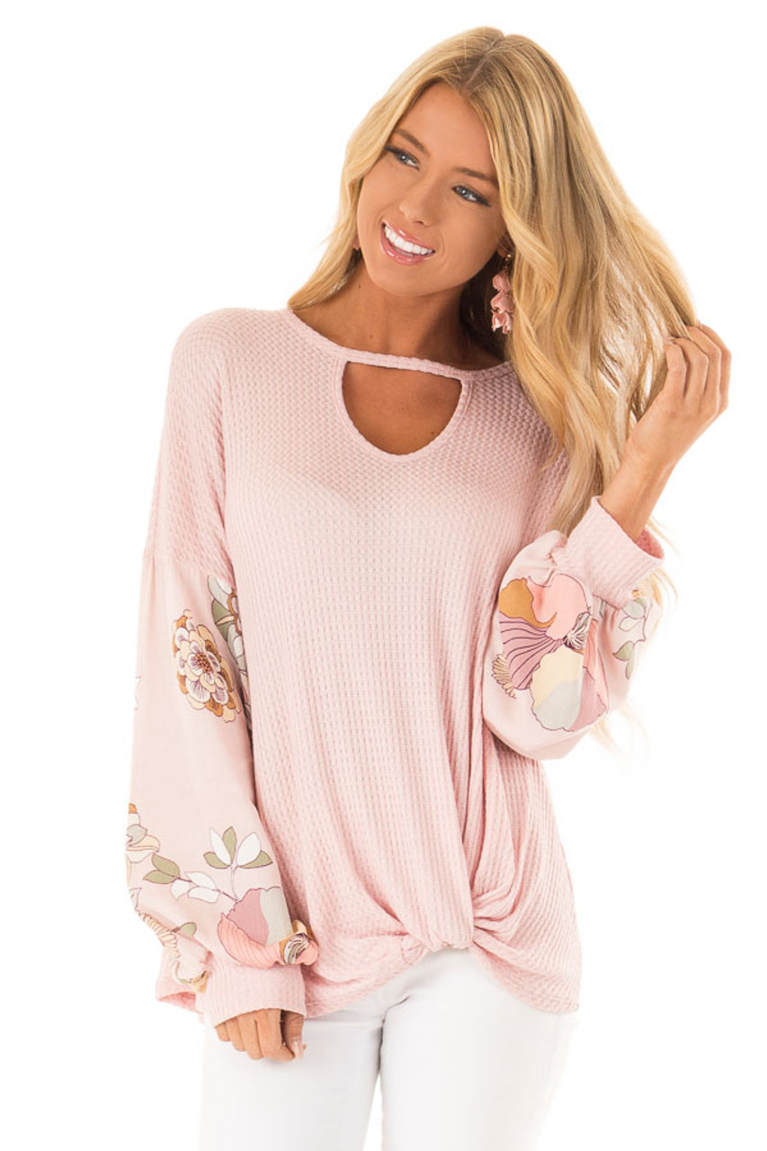 040996dd5fd9 Blush Waffle Knit Top with Floral Puff Sleeves and Cutout front close up