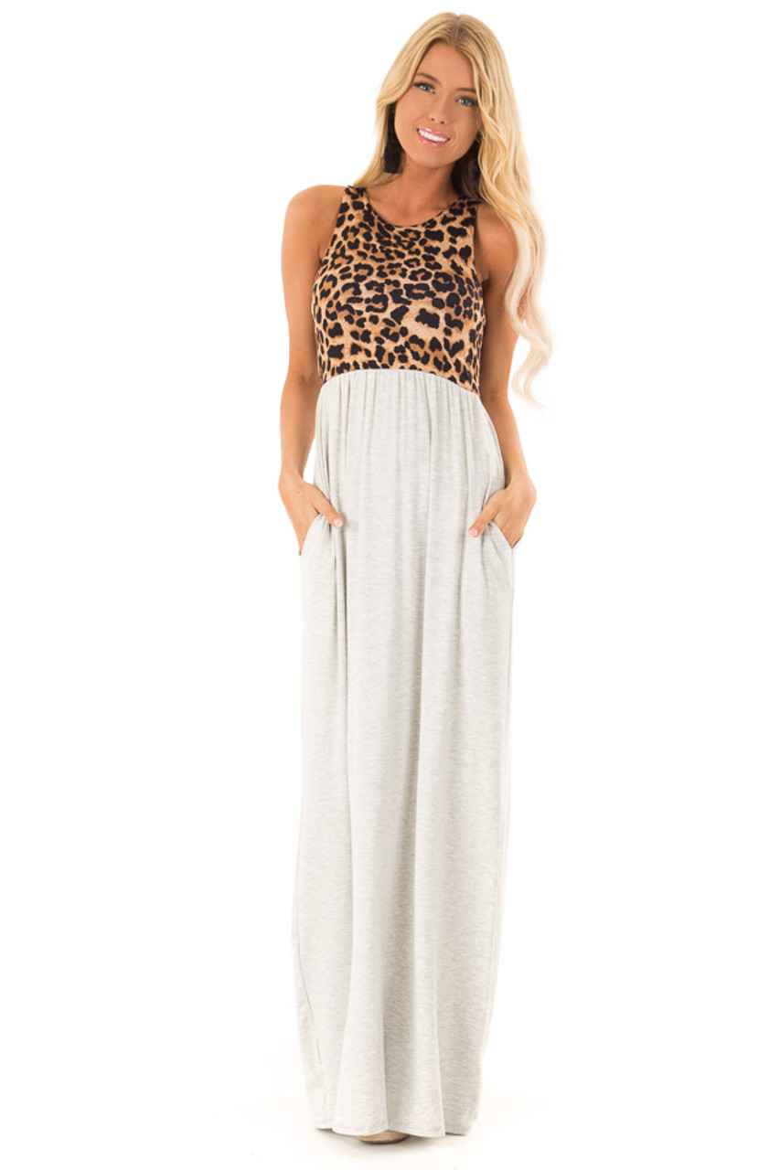 c78d8e934cb5a Heather Grey Maxi Dress with Leopard Contrast and Side Pockets