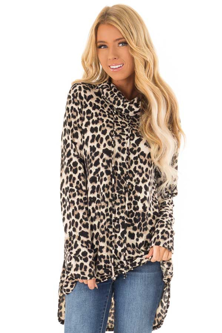 c0e65af6f8a6 Leopard Print Cowl Neck Long Sleeve Tunic with Drawstrings front close up