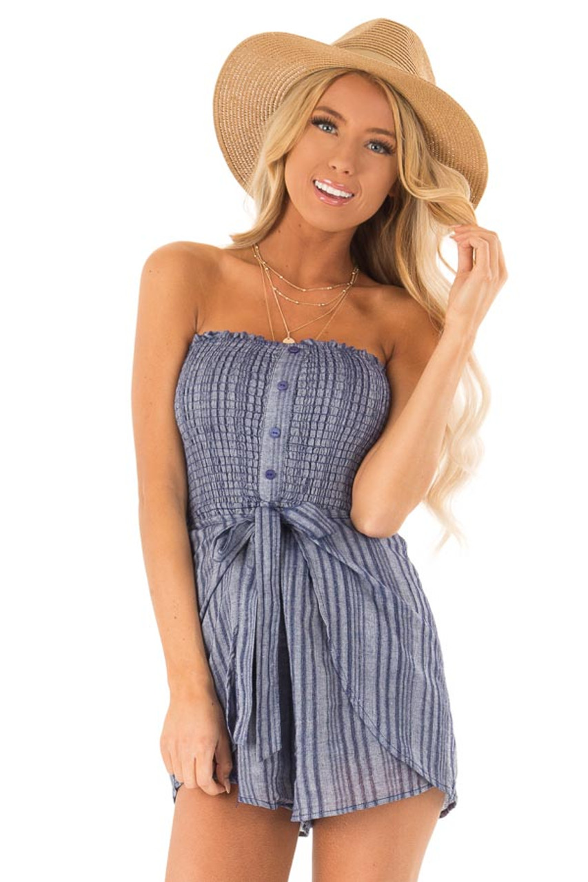 0a830f1e8 Denim Blue Striped Strapless Romper with Waist Tie - Lime Lush Boutique