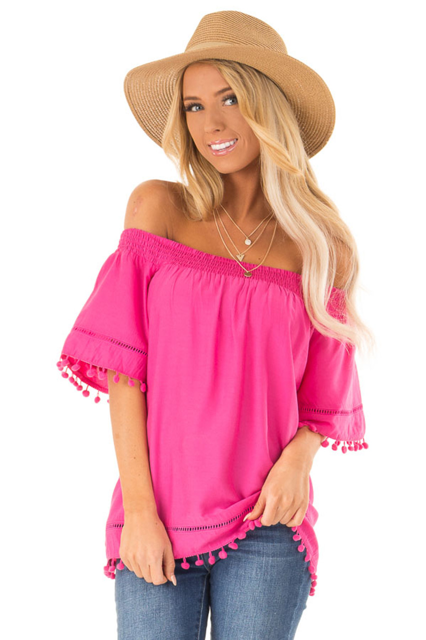 5dbbf3e89f384d Hot Pink Off the Shoulder Top with Pom Pom Details - Lime Lush Boutique