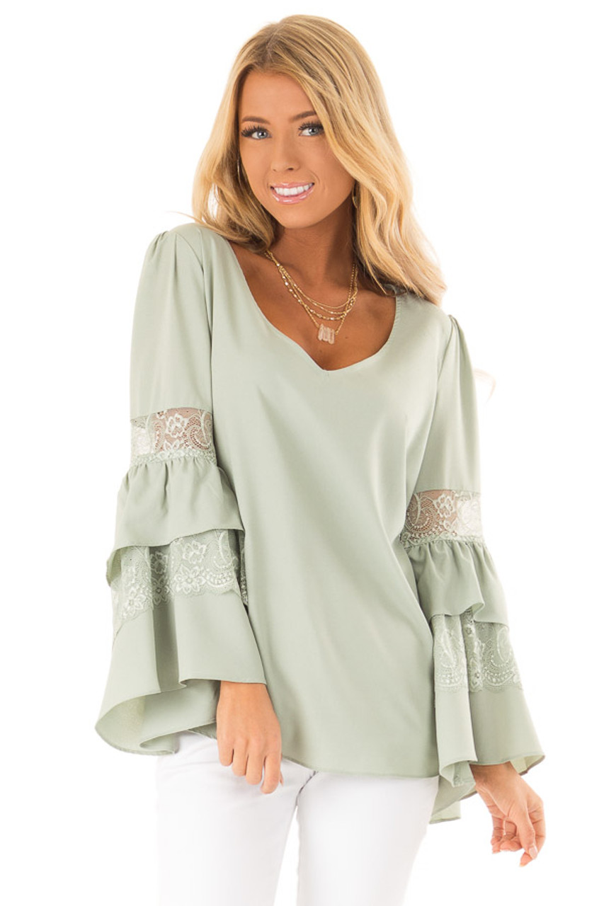 1df570d7b96 Sage V Neck Blouse with Lace Inset Tiered Ruffle Sleeves - Lime Lush ...