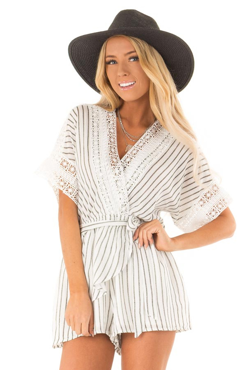 068ec102f Off White and Charcoal Striped Romper with Crochet Detail front close up