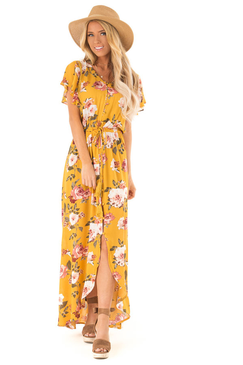 43bad79167a12 Golden Floral Button Up Maxi Dress with Waist Tie