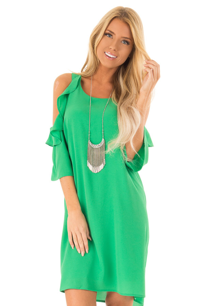 77bc2c2f26b3 Shamrock Green Cold Shoulder Dress with Ruffle Detail - Lime Lush ...