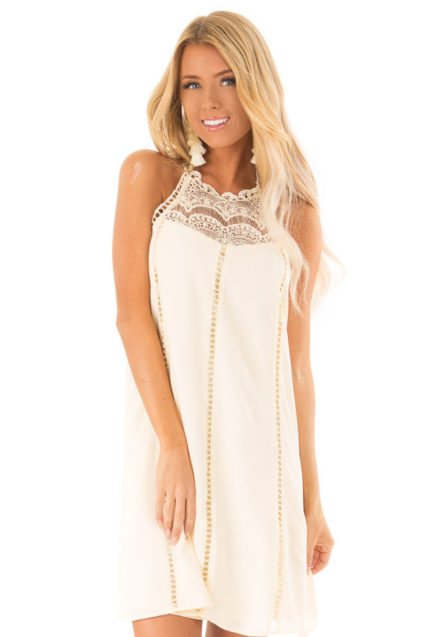 a05d8749ad7 Cream Halter Dress with Crochet Lace and Back Keyhole - Lime Lush ...