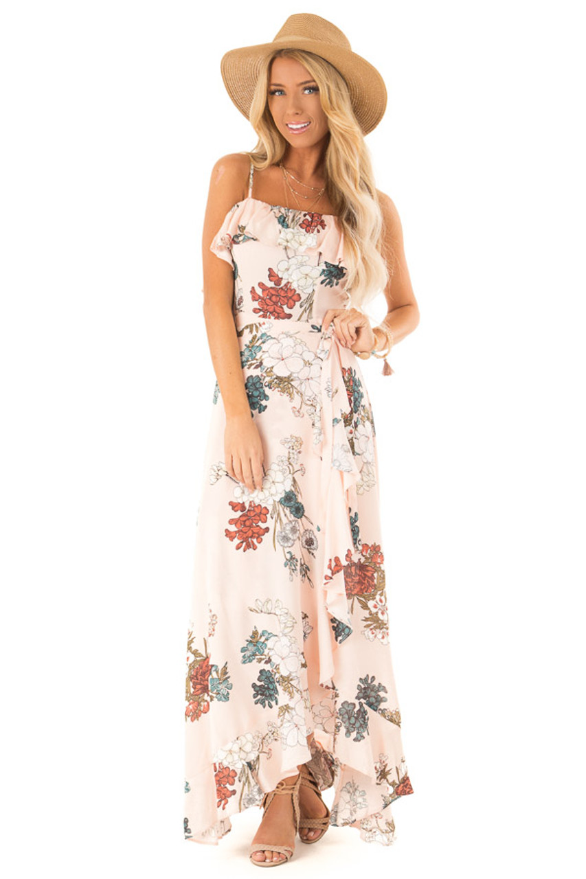 86aa7ec2ba Pale Peach Floral Sleeveless Crossover Ruffle Maxi Dress front full body