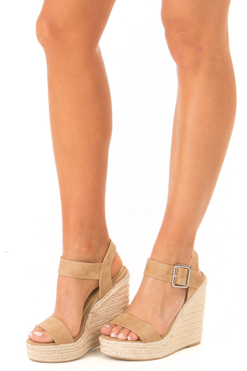 e2b4c116154 Tan Faux Leather Open Toe Wedge with Ankle Strap - Lime Lush Boutique