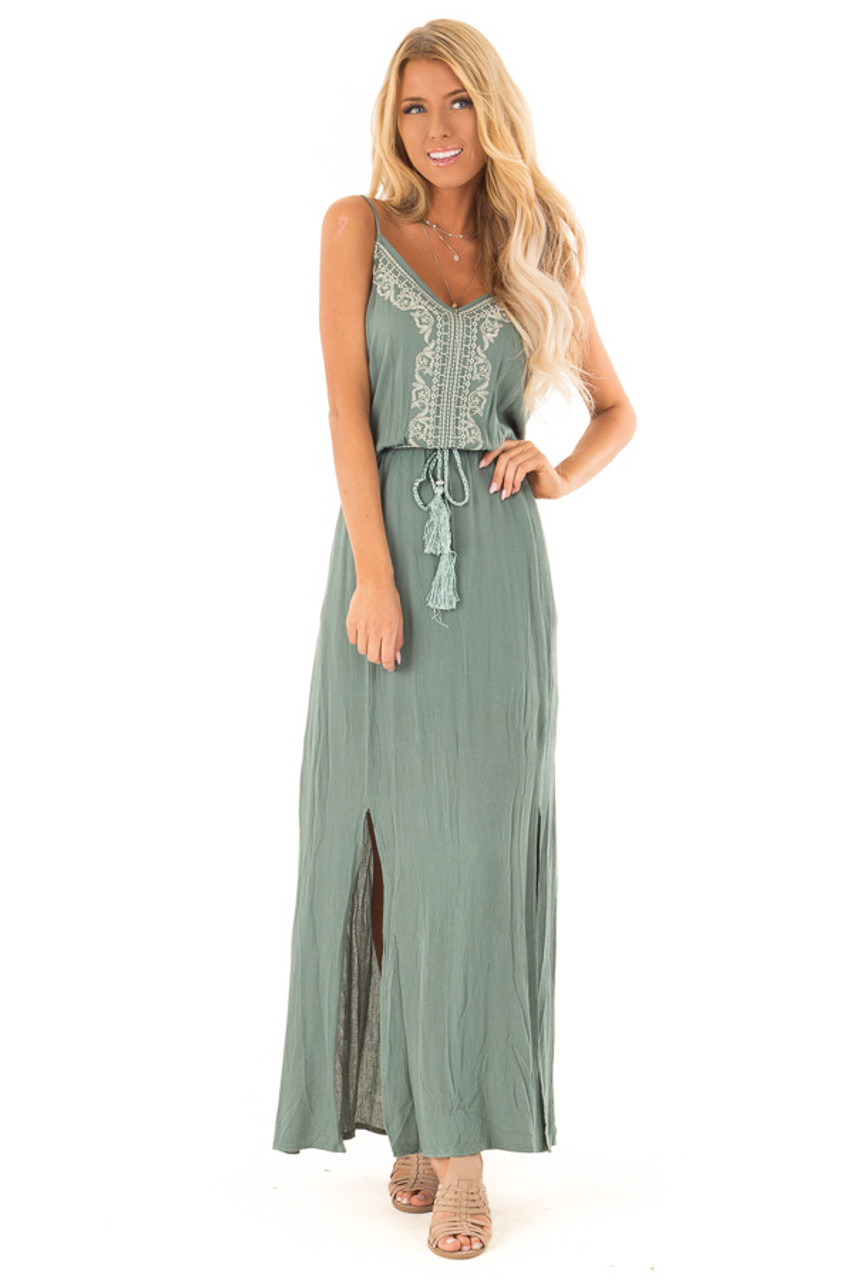 0d586d050315 Dark Sage Maxi Dress with Embroidered Detail and Waist Tie front full body