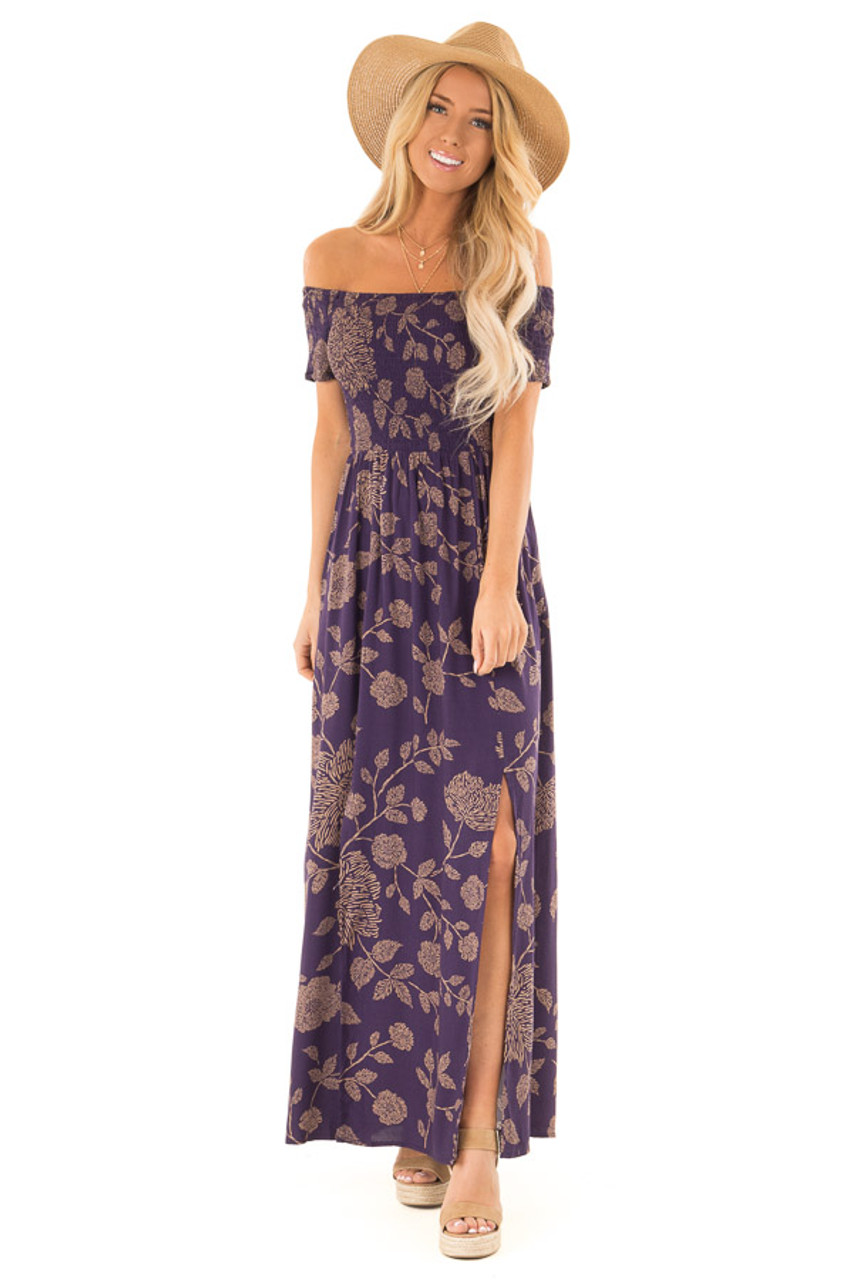 ee20902c206 Indigo and Latte Floral Off the Shoulder Smocked Maxi Dress front full body