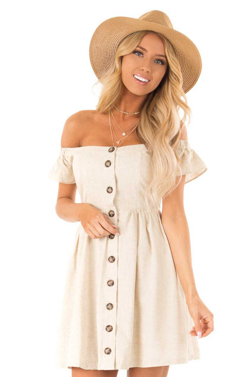 8a3d67f98e62 Oatmeal Off the Shoulder Button Up Mini Dress with Pockets front close up