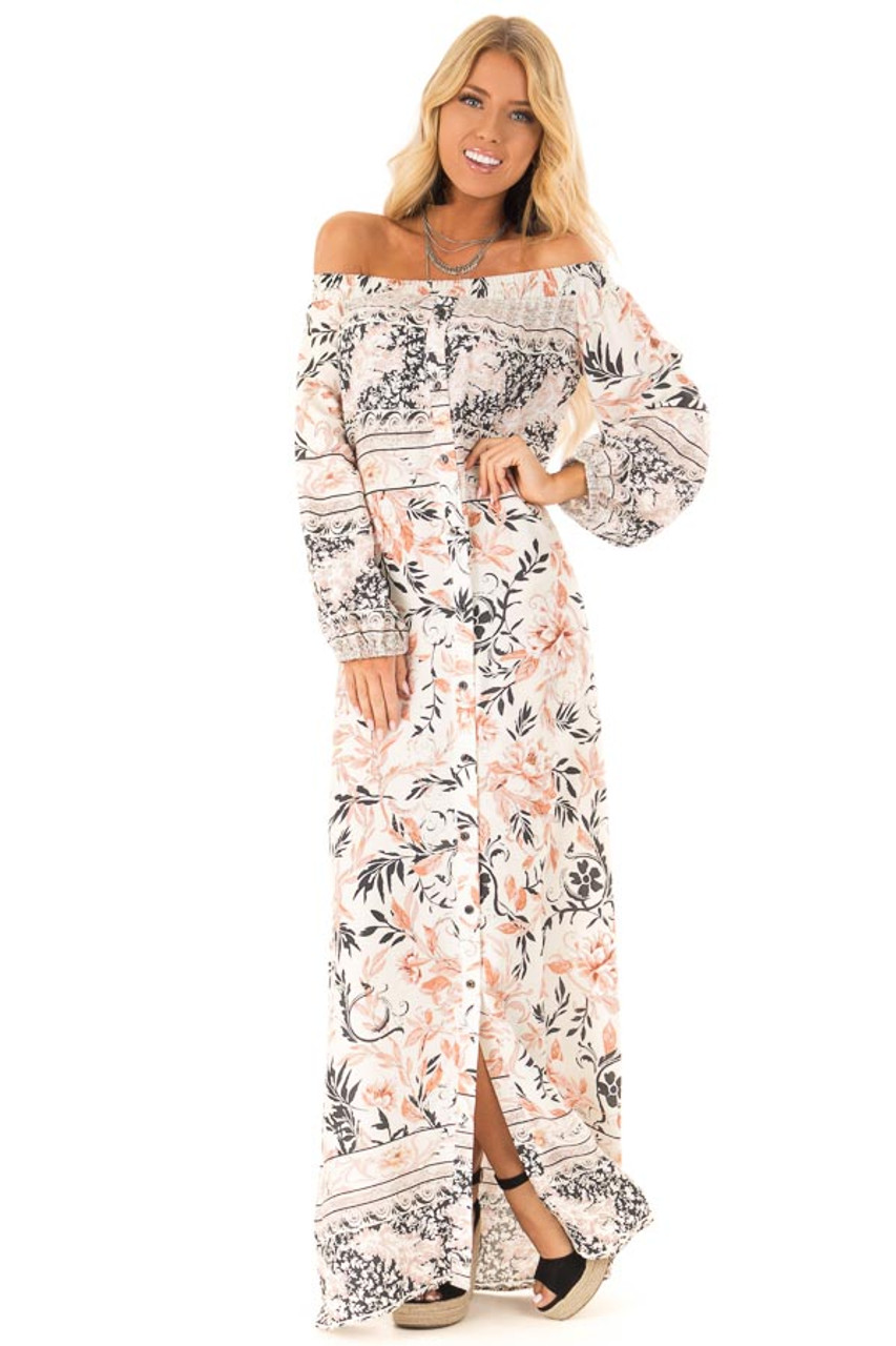 c42a1bff018e Multicolor Floral Off the Shoulder Long Sleeve Maxi Dress front full body