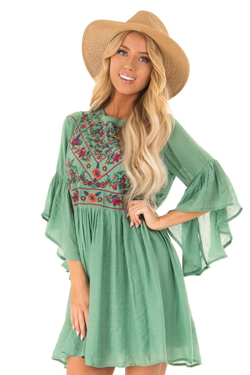 2fbf6057ae0b Fern Green Dress with Floral Embroidery and 3/4 Bell Sleeve front close up