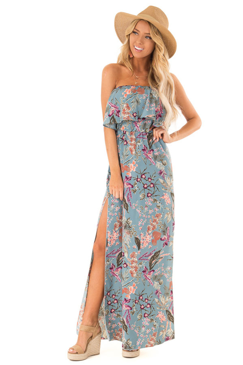 a2771803e2 Dusty Blue Floral Print Strapless Maxi Dress with Side Slits front full body