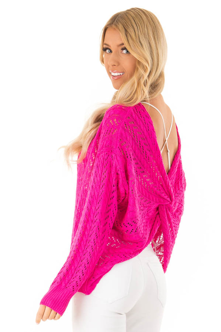 14243ec70b79b Hot Pink Loose Knit Sweater with Back Twist Detail - Lime Lush Boutique