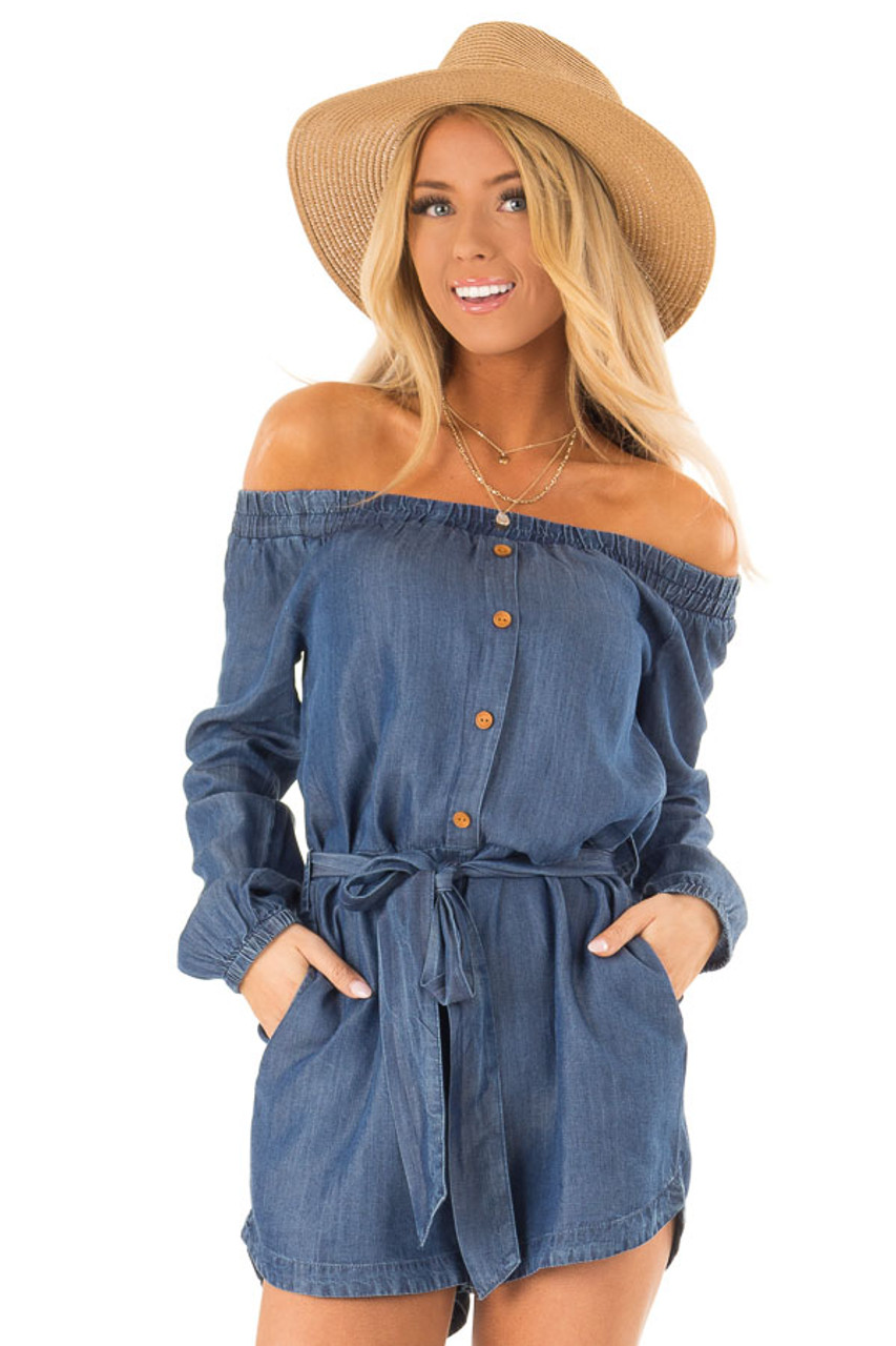 73d5b015a0e Denim Blue Chambray Off the Shoulder Romper with Waist Tie front close up