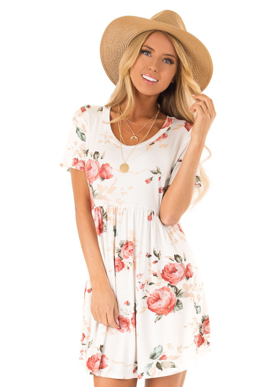 00821351f43 Off White Floral Print Dress with Short Sleeves - Lime Lush Boutique