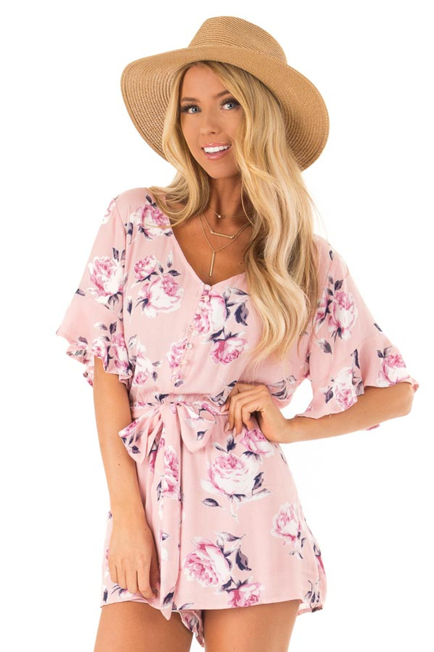 432ec7e5d474 Carnation Pink and Floral Button Up Romper with Waist Tie front close up