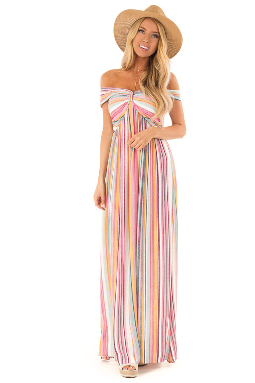 5e424aed58 Multicolor Striped Halter Maxi Dress with Front Knot Detail