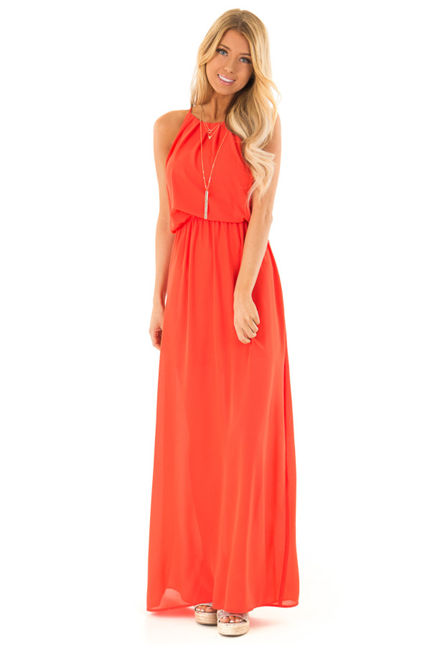63e83894cffe9 Tomato Red Flowy Maxi Dress with Pleated Halter Neckline