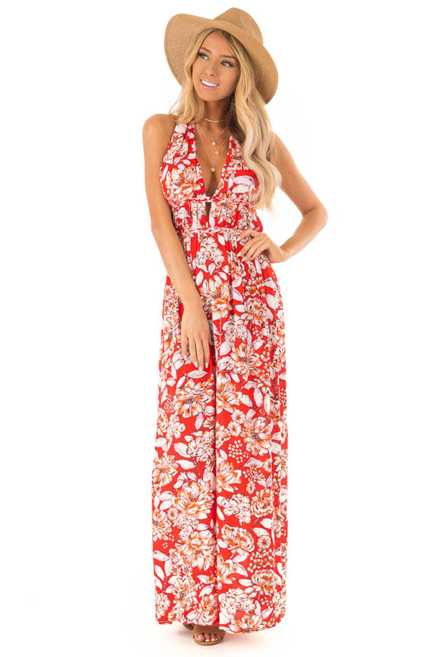 8342049a6a Tomato Halter Maxi Dress with Open Back and Braided Detail front full body