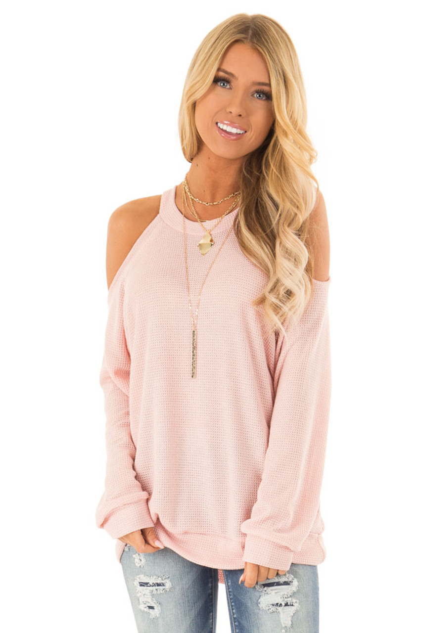 b2d4ad5abb1ac2 Blush Waffle Knit Cold Shoulder Long Sleeve Top - Lime Lush Boutique