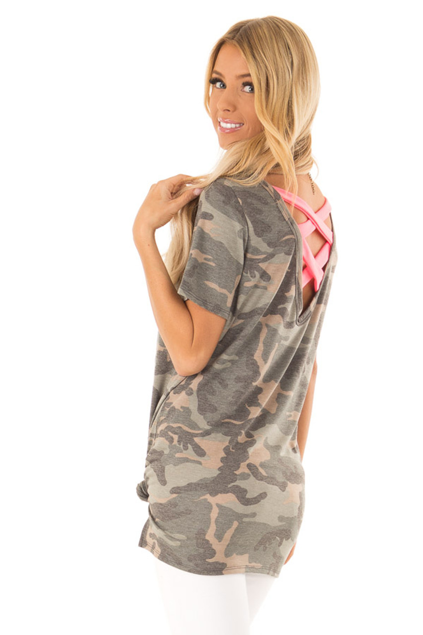 075aa14ad57d4 Camo Short Sleeve Top with Hot Pink Back Criss Cross Detail back side close  up
