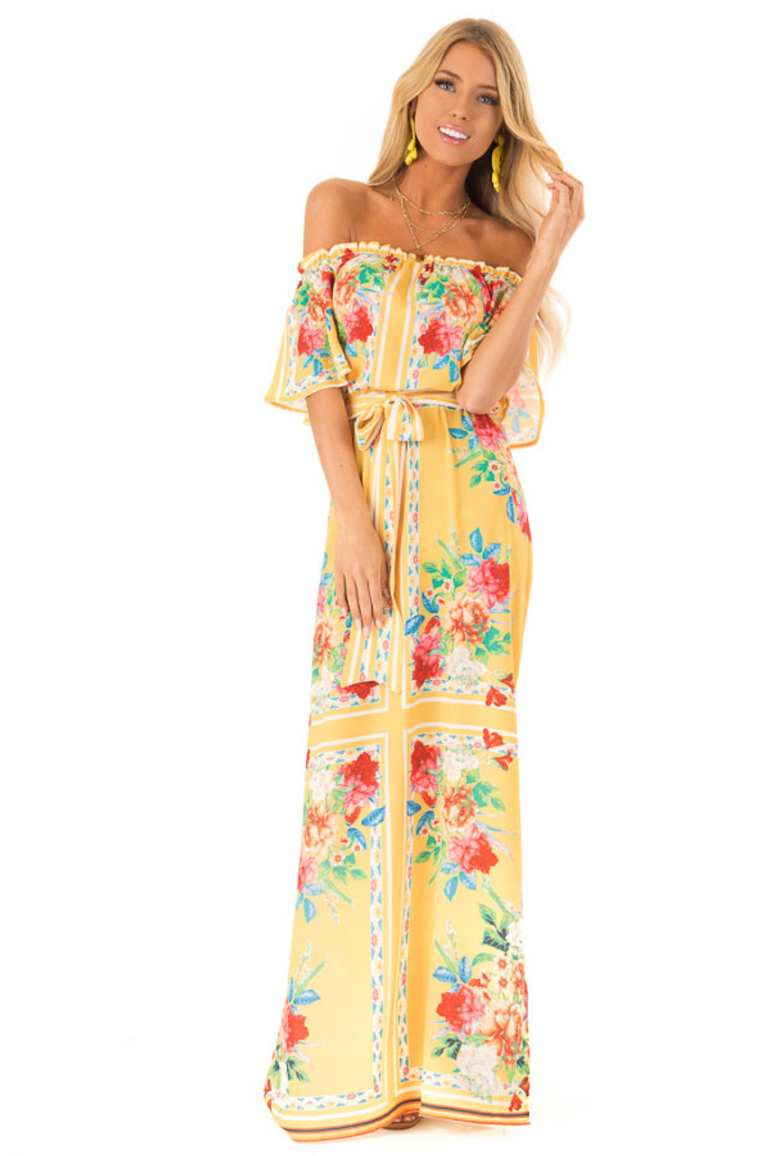 61eb89ac9db Pineapple Yellow Off the Shoulder Floral Print Maxi Dress front full body